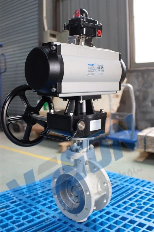 Pneumatic Actuator Operated Butterfly Valve Flanged Type Double Acting / Spring Return