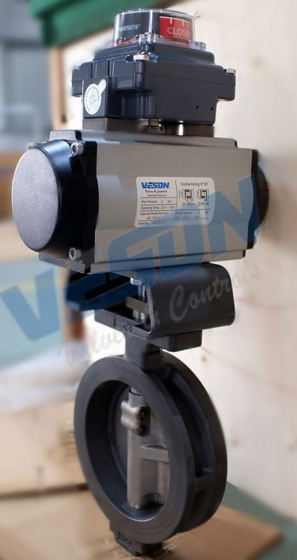 Wafer Type Pneumatic Butterfly Valve Air Operated Butterfly Valve With Switches